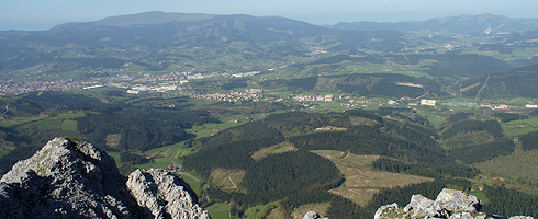 View of Abadiño from the top of mount Aitz-Txiki.